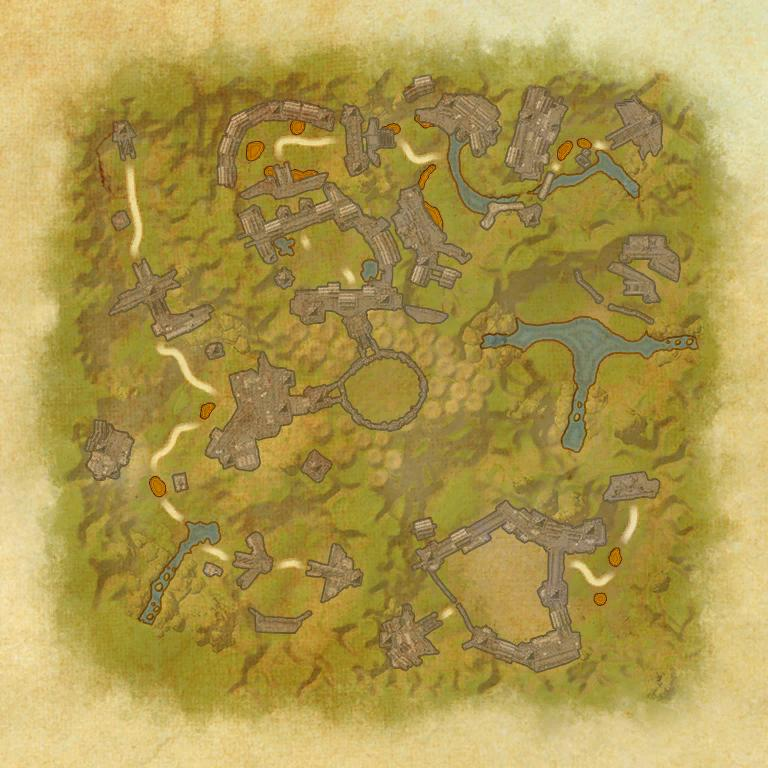 A map of the first area of the Ruins of Mazzatun