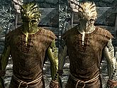 A male Argonian, before and after becoming a vampire
