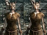 A female Khajiit, before and after becoming a vampire