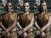 A female Dunmer, before and after becoming a vampire
