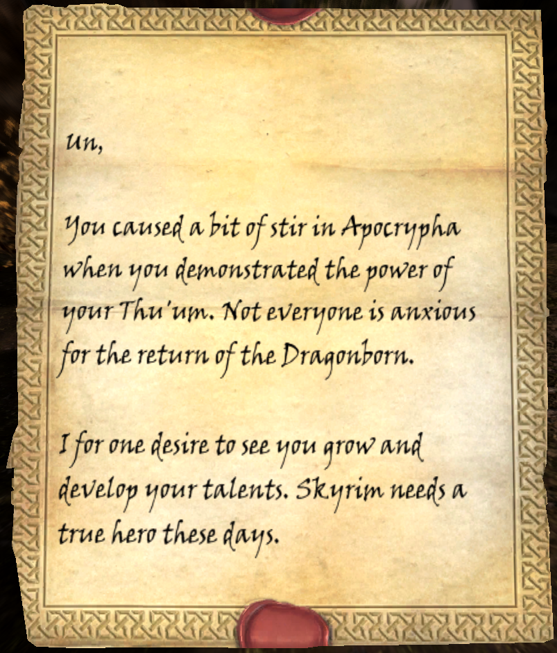 Letter From A Friend Skyrim Uesp