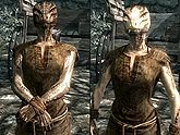 A female Argonian, before and after becoming a vampire