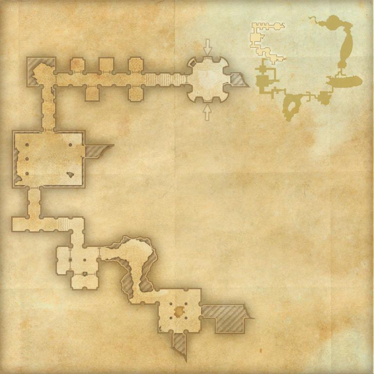 A map of the first area of Imperial City Prison