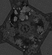 Locations of the missing crests on a map of Castle Volkihar Courtyard