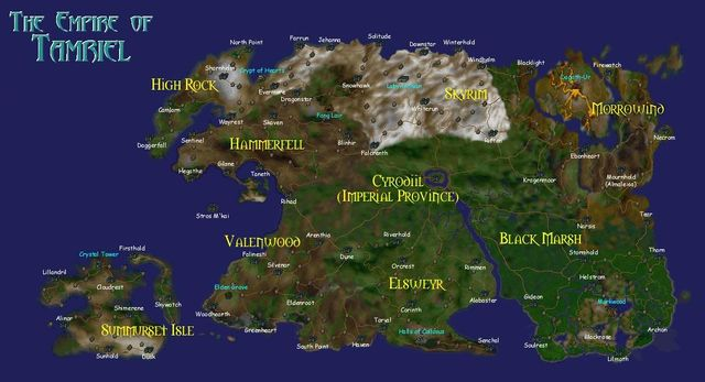 Map of Cyrodiil compiled from all provincial maps
