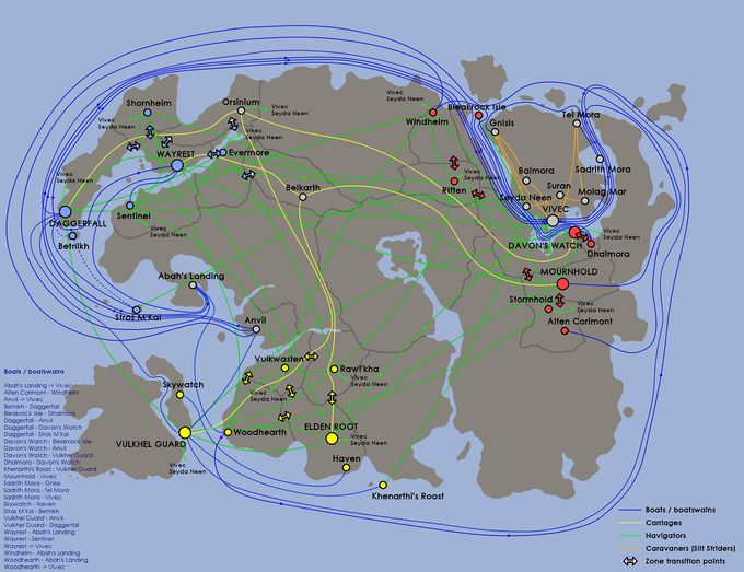 A map showing available boat and carriage travel routes throughout Tamriel
